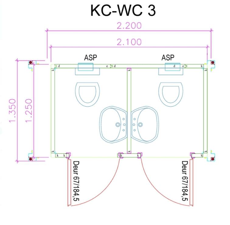 Dubbele Toilet Unit Plattegrond