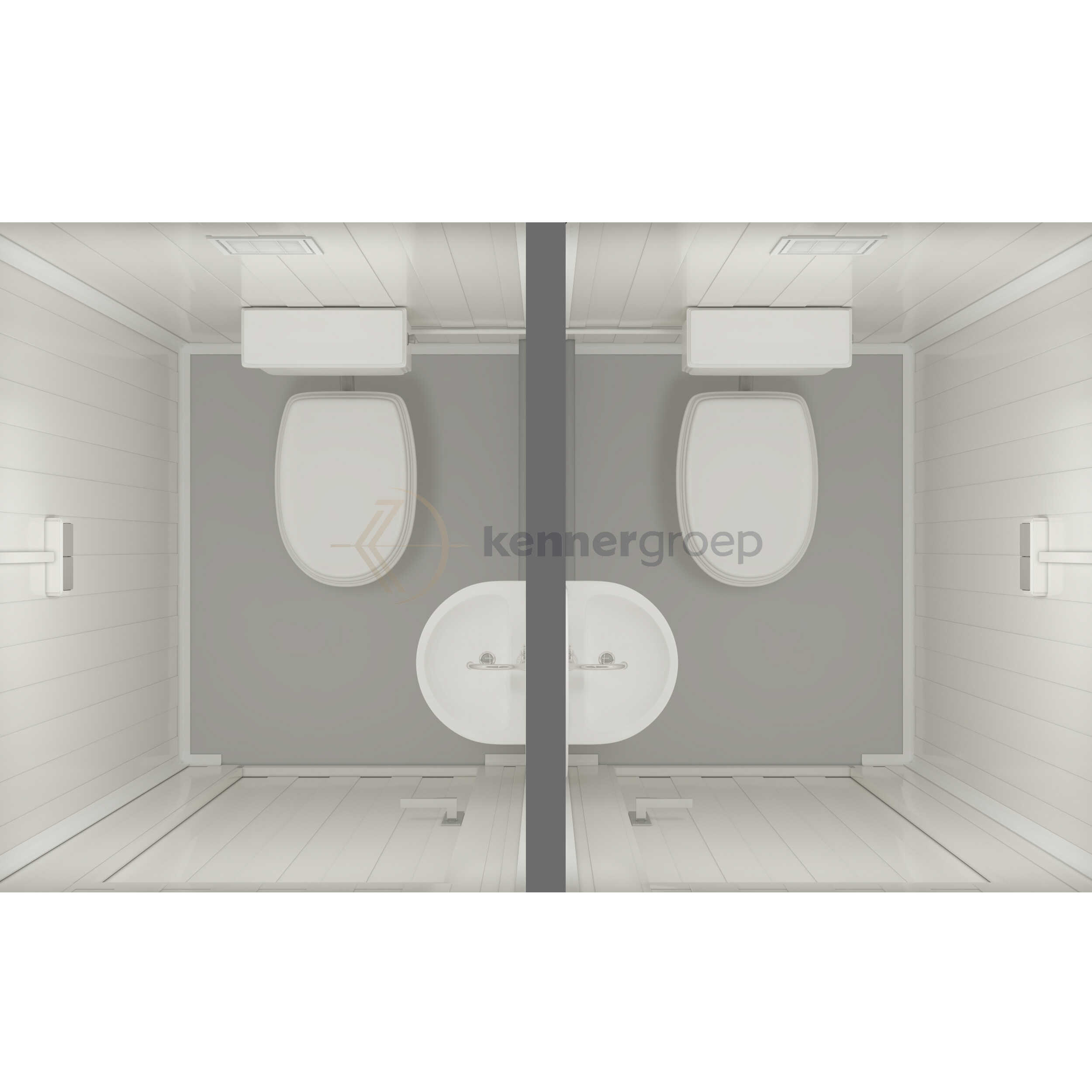 Metalen Unit Dubbel, 2x Toilet + Wastafel KC-WC3: €2850,-